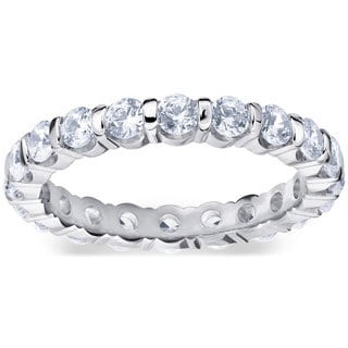 Amore Platinum 1 1/2ct TDW Bar Set Diamond Eternity Band (G-H, SI1-SI2)