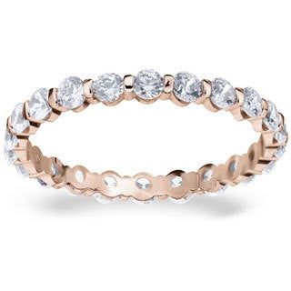 Amore 14k or 18k Rose Gold 1ct TDW Bar Set Diamond Eternity Band (G-H, SI1-SI2)