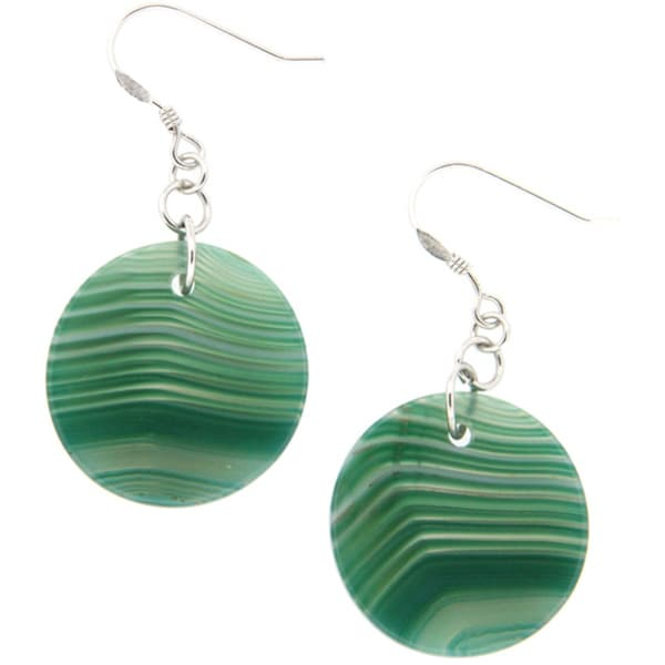 Pearlz Ocean Green Banded Agate Earrings