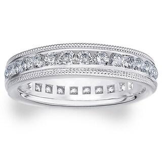 Amore 14k or 18k White Gold 1ct TDW Milgrain Edge Diamond Wedding Band (G-H, SI1-SI2)