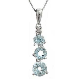 D'yach Sterling Silver Round-cut Aquamarine and Diamond Accent Pendant