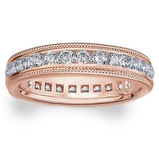 Amore 14k or 18k Rose Gold 1ct TDW Milgrain Edge Diamond Wedding Band (G-H, SI1-SI2)