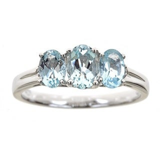 Anika and August D'yach Sterling Silver Aquamarine and Diamond Accent Ring