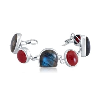 Sterling Silver Labradorite and Red Onyx Link Bracelet