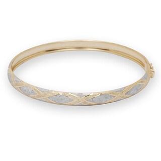 10k Two-tone Gold 7 or 8-inch Flexible X-design Bangle Bracelet