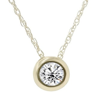 Bliss 14k Yellow Gold 1/2ct Diamond Bezel-set Solitaire Pendant Necklace (H-I, I1-I2)