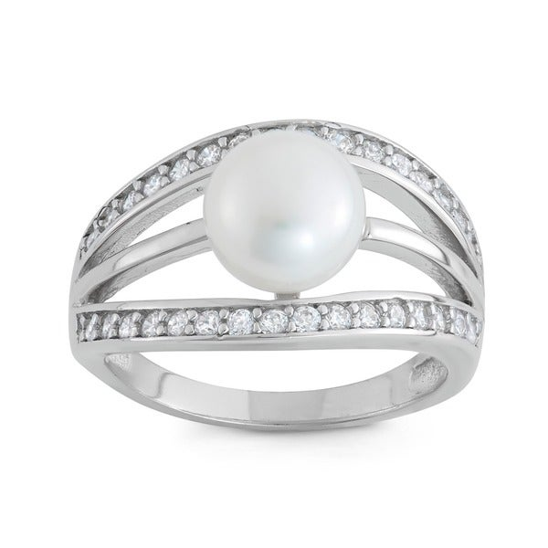 Gioelli Sterling Silver Freshwater Pearl Cubic Zirconia Ring (8 mm)
