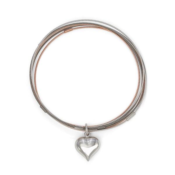 Gioelli Triple-plated Silver Heart Charm Bangles
