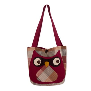 Handcrafted Cotton 'Happy Owl' Shoulder Bag (Thailand)