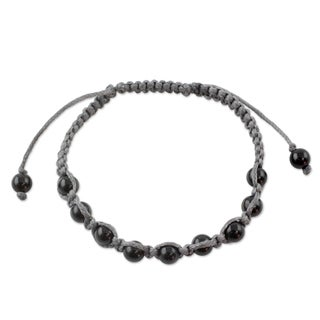 Handcrafted Onyx 'Quiet Dark' Shamballa Bracelet (India)