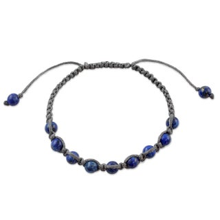 Handcrafted Lapis Lazuli 'Truth and Prayer' Shamballa Bracelet (India)