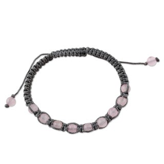 Handcrafted Rose Quartz 'Love and Prayer' Shamballa Bracelet (India)