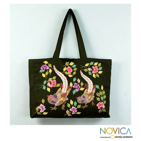 Cotton Applique 'Exotic Birds' Tote Bag (Peru)