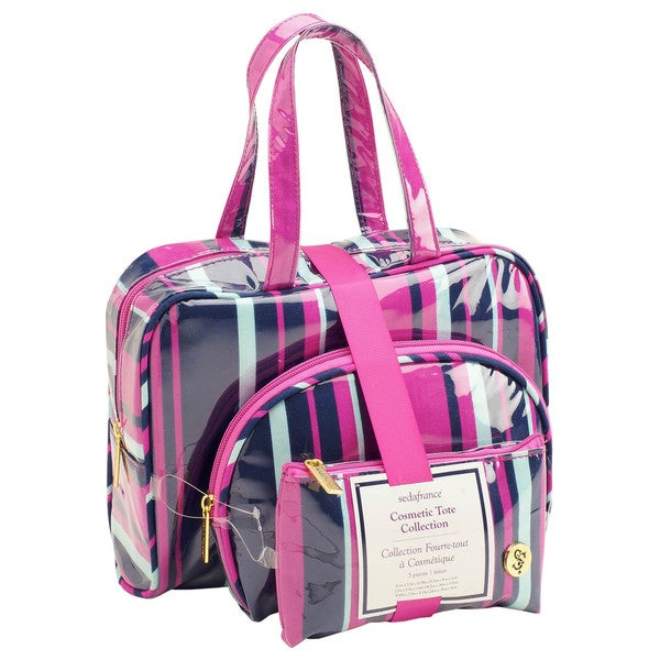 SedaFrance Mardi Gras Stripe Three-Piece Cosmetic Tote Set