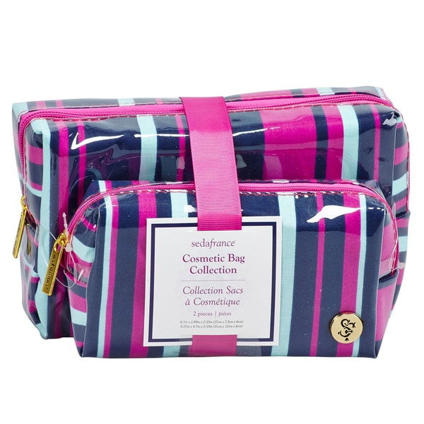 SedaFrance Mardi Gras Stripe Two-Piece Cosmetic Bag Set