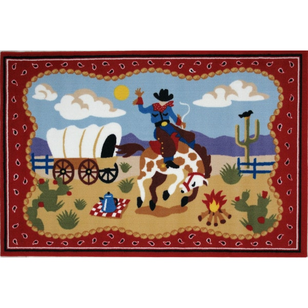Ride 'Em Red Nylon Area Area Rug (3'3 x 4'8)
