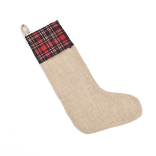 Tartan Design Jute Stocking