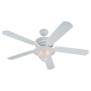 52-inch Quality Pro Deluxe Ceiling Fan in White Finish Fixture