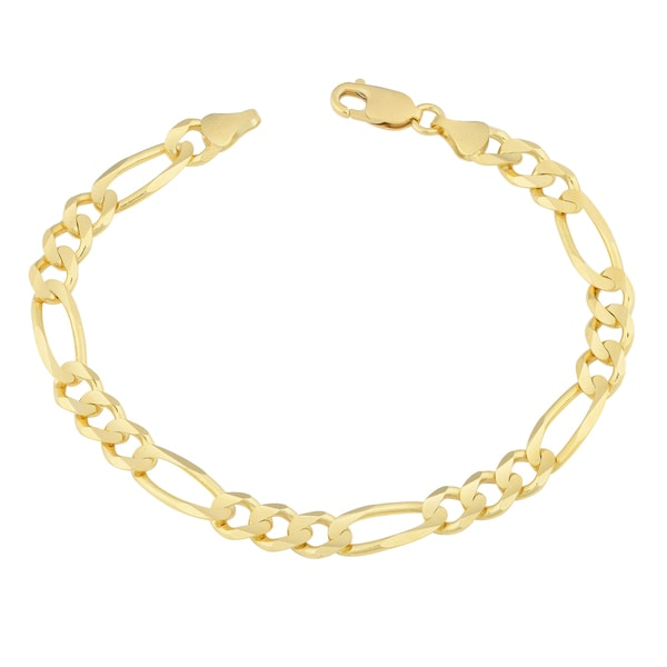 Fremada 14k Yellow Gold 7-mm Solid Masculine Curb Figaro Bracelet (8.5 inch)