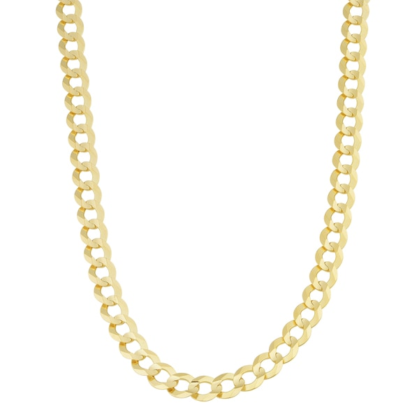 Fremada 14k Yellow Gold 7-mm Solid Masculine Curb Necklace (20 inch)