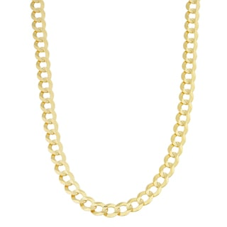 Fremada 14k Yellow Gold 7-mm Solid Masculine Curb Necklace (24 inch)