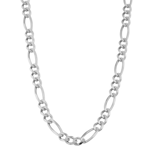 Fremada 14k White Gold 6-mm Solid Figaro Necklace (20 inch)