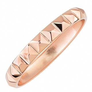 Oro Rosa 18k Rose Gold Over Bronze Italian Pyramid Design Bangle