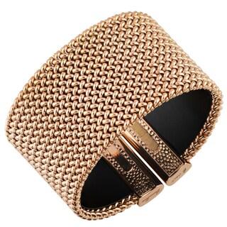 Oro Rosa 18k Rose Gold Over Bronze High Polish Italian Statement Cuff Bangle Bracelet