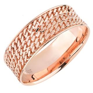 Oro Rosa 18k Rose Gold Over Bronze Round Three Row Curb Italian Bangle Bracelet
