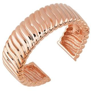 Oro Rosa 18k Rose Gold Over Bronze Wave Design Ribbed Italian Cuff Bangle