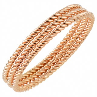 Oro Rosa 18k Rose Gold Over Bronze Twisted Rope Italian Bangle (Set of Three)
