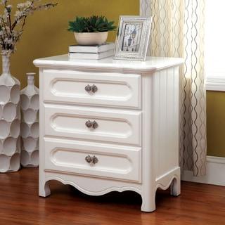 Furniture of America Snowette White 3-Drawer Nightstand