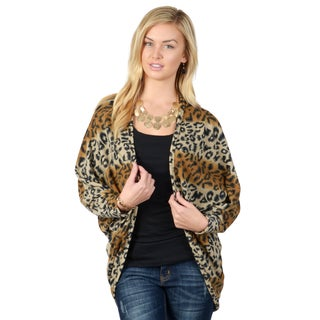 Journee Collection Women's Dolman Long Sleeve Leopard Print Cardigan