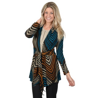 Timeless Comfort by Journee Women's Chevron Print Tie Waist Open Front Cardigan