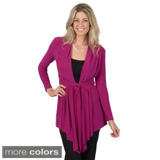Timeless Comfort by Journee Women's Tie Waist Long Sleeve Open Front Cardigan