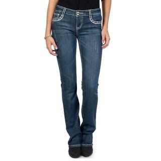 L.A. Idol Junior's Embellished Medium Wash Boot Cut Jeans