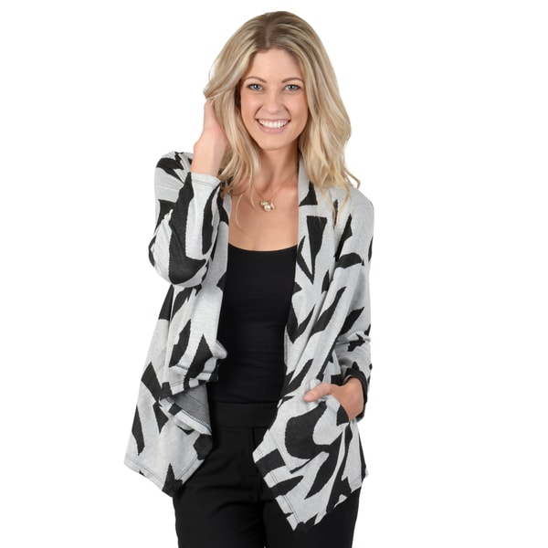 Timeless Comfort by Journee Women's Printed Knit Cropped Sleeve Cardigan