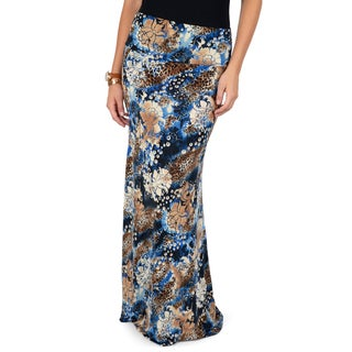Hailey Jeans Co. Junior's Leopard Floral Printed Maxi Skirt
