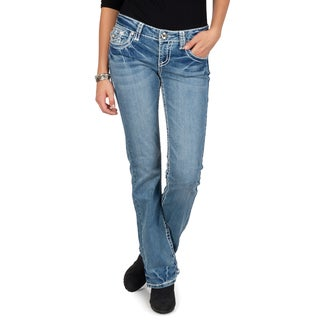 L.A. Idol Junior's Contrast Stitching Embellished Light Wash Boot Cut Jeans