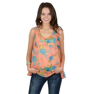 Hailey Jeans Co. Junior's Sleeveless Floral Chiffon Tank Top