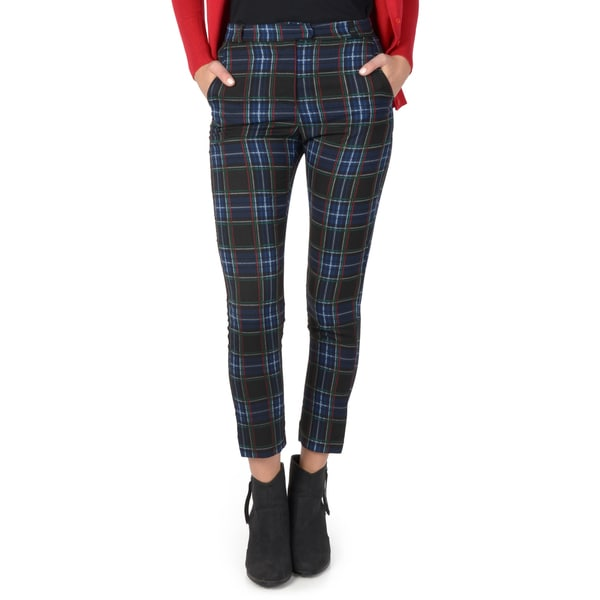 Hailey Jeans Co. Junior's Plaid Cropped Cigarette Pants
