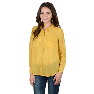 Hailey Jeans Co. Junior's Chiffon Sheer Button-up Blouse