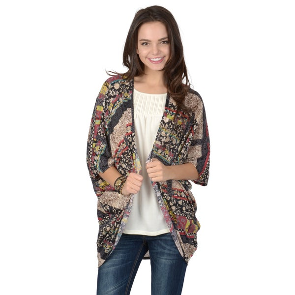 Journee Collection Women's Dolman Sleeve Open Front Mix-Print Cardigan