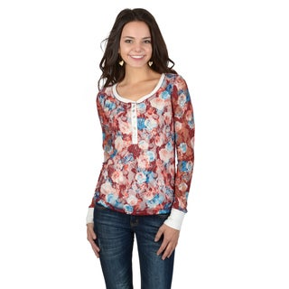 Hailey Jeans Co. Junior's Long Sleeve Floral Lace Henley Top