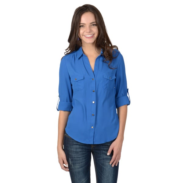 Hailey Jeans Co. Junior's Roll-tab Sleeve Button-up Blouse