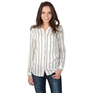 Hailey Jeans Co. Junior's Long Sleeve Striped Button-up Shirt