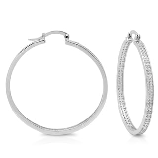 Sterling Essentials Silver Extra Large Micro-pave Cubic Zirconia Hoop Earrings