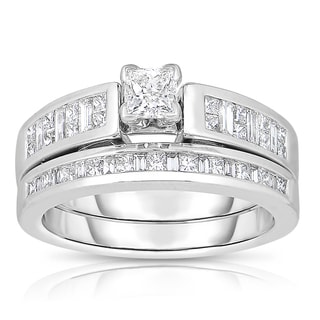 Eloquence 14k White Gold 1 1/10ct TDW One-Of-A-Kind Princess-cut Bridal Ring Set (J-K, I1-I2)