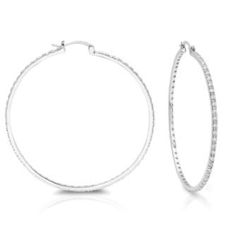 Sterling Essentials Silver Extra Large Cubic Zirconia Hoop Earrings
