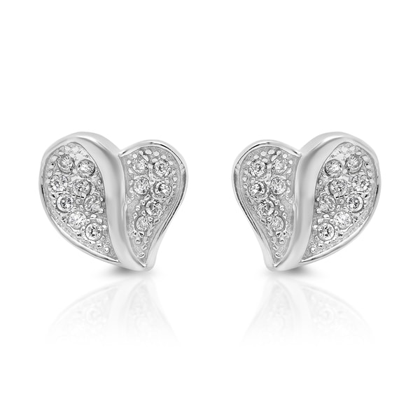 Sterling Essentials Silver Cubic Zirconia Lily Pad Heart Stud Earrings